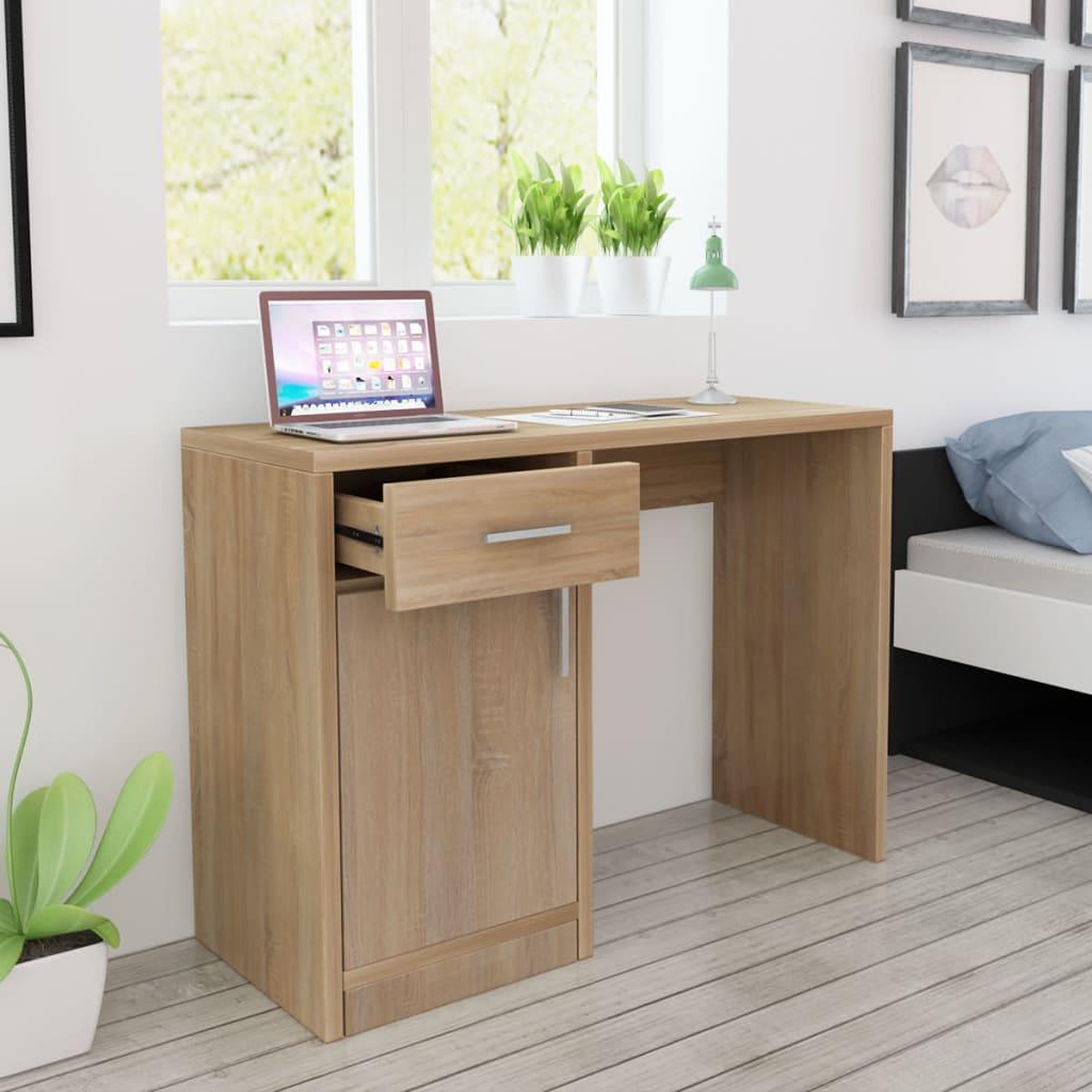 vidaXL Mesa com gaveta e armário 100x40x73 cm carvalho
