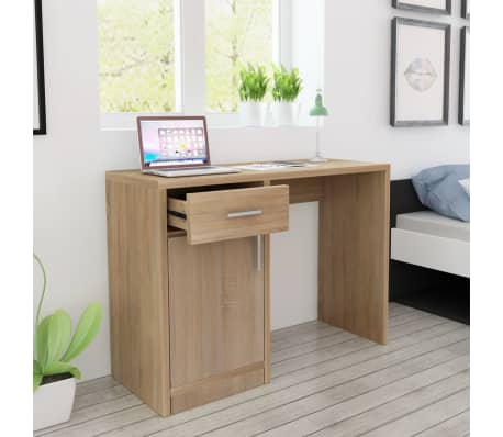 vidaXL Desk with Drawer and Cabinet Oak 100x40x73 cm[1/6]