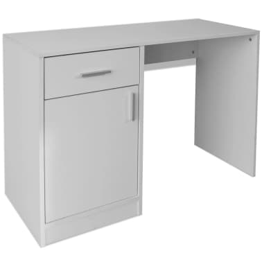 vidaXL Desk with Drawer and Cabinet White 100x40x73 cm[2/6]