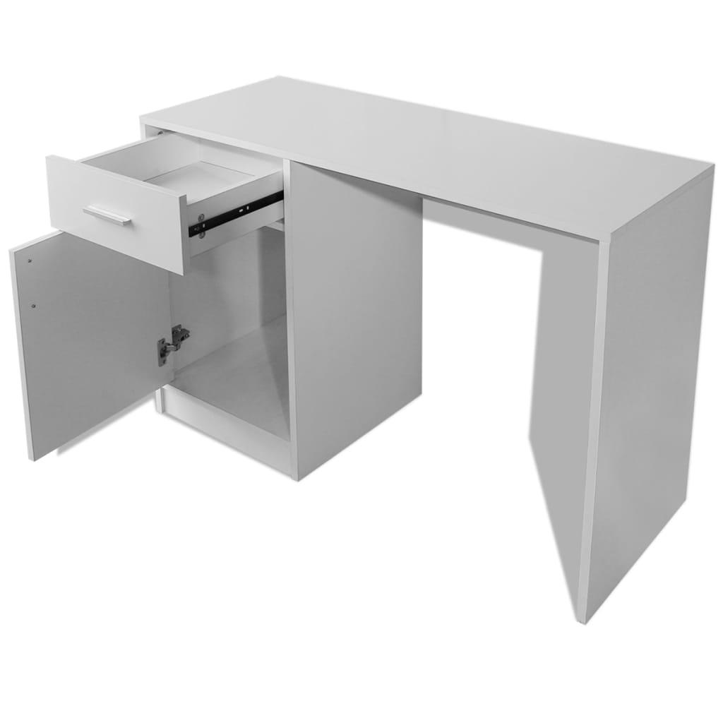 Bureau Avec Tiroir Et Placard 100x40x73 Cm Blanc