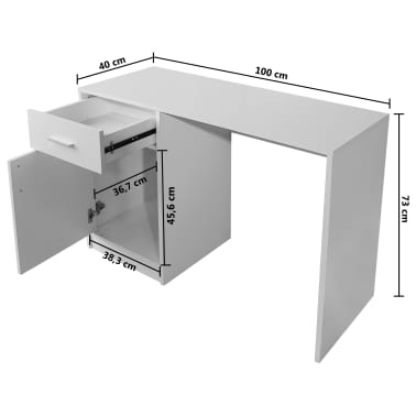 vidaXL Desk with Drawer and Cabinet White 100x40x73 cm[6/6]