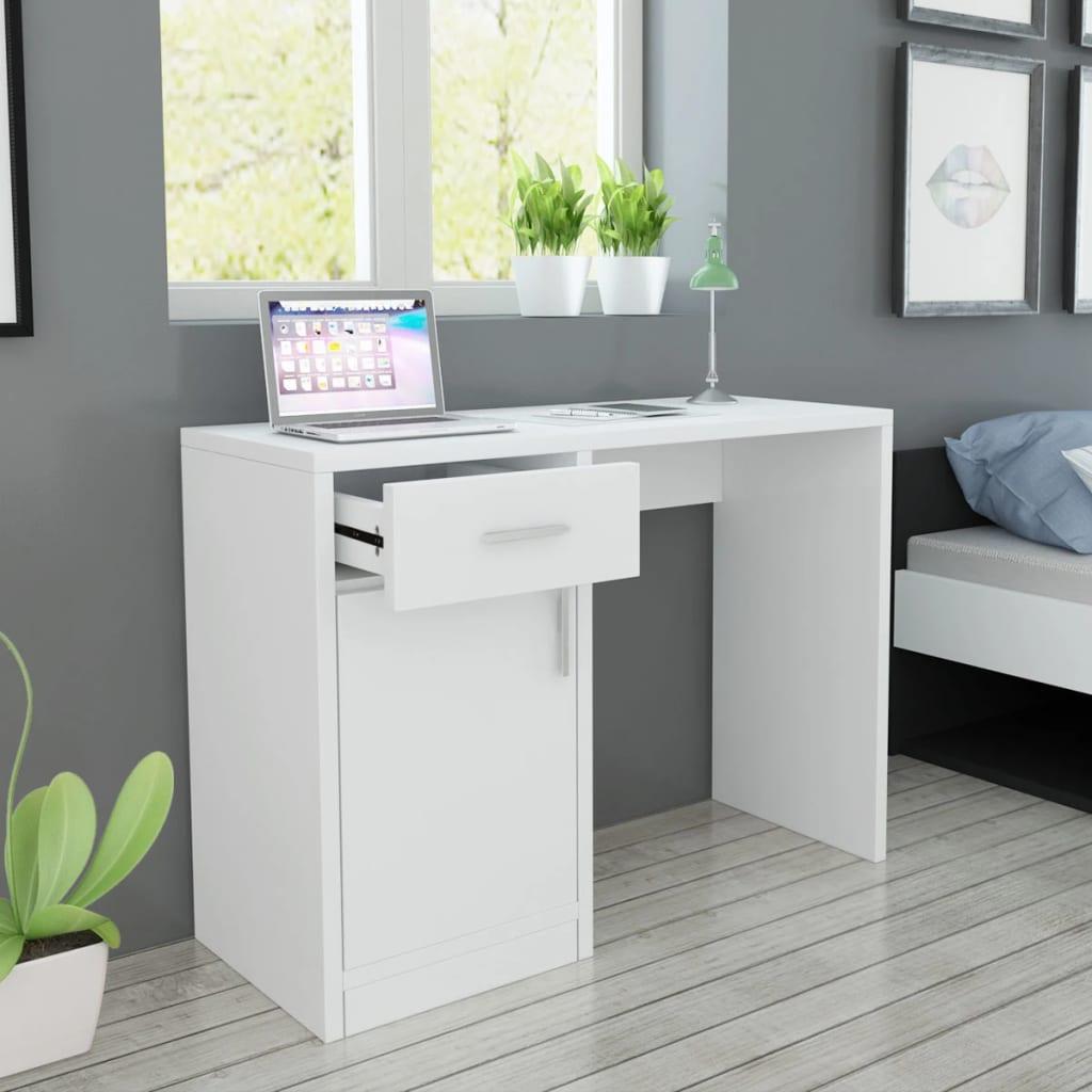 vidaXL Mesa com gaveta e armário 100x40x73 cm branca