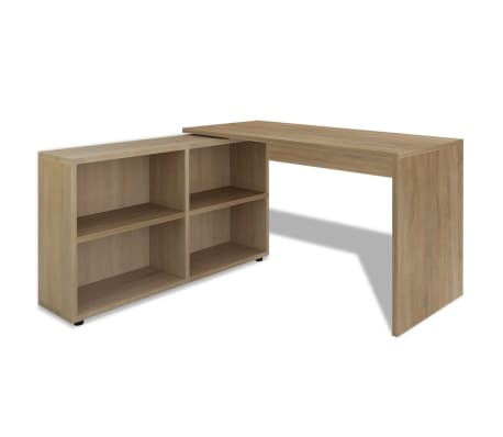 vidaXL Corner Desk 4 Shelves Oak[2/4]