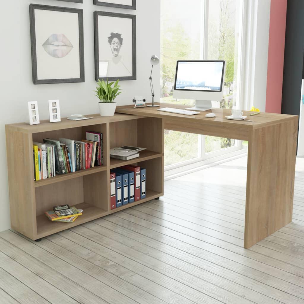 vidaXL Rohový kancelářský stůl, 4 police, dub