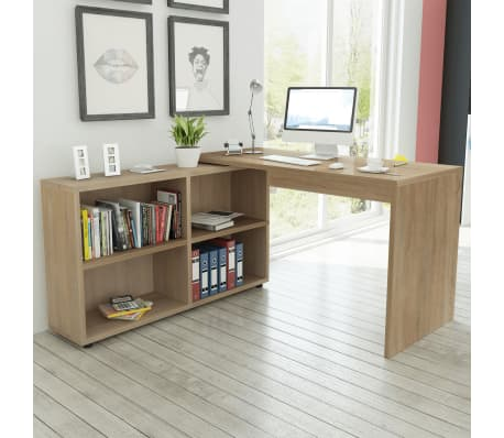 vidaXL Corner Desk 4 Shelves Oak[1/4]
