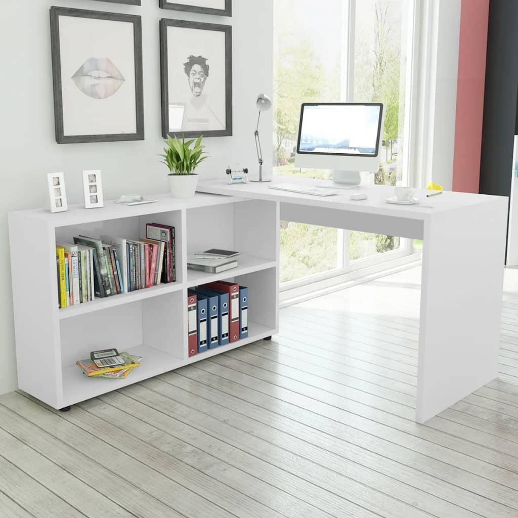 vidaXL Rohový kancelářský stůl, 4 police, bílá
