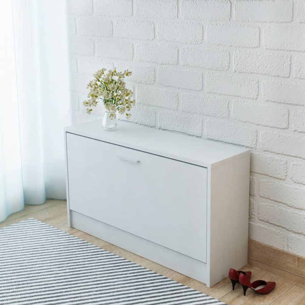 vidaXL Πάγκος Αποθήκευσης Παπουτσιών Λευκός 80 x 24 x 45 εκ.