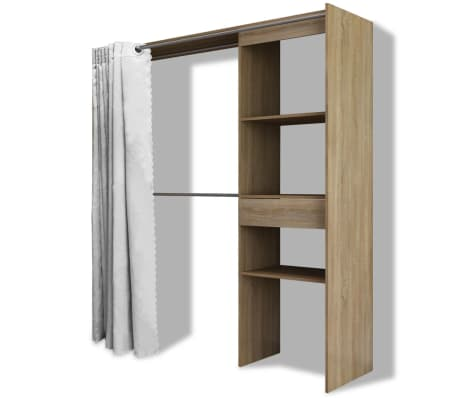 Vidaxl Kleiderschrank Mit Vorhang Breitenverstellbar 121 168 Cm