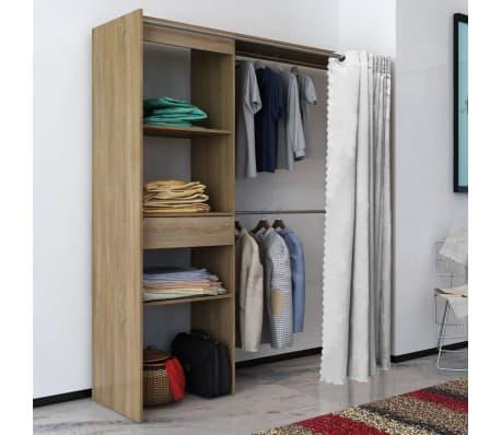 vidaxl kleiderschrank mit vorhang breitenverstellbar 121 168 cm eiche g nstig kaufen. Black Bedroom Furniture Sets. Home Design Ideas