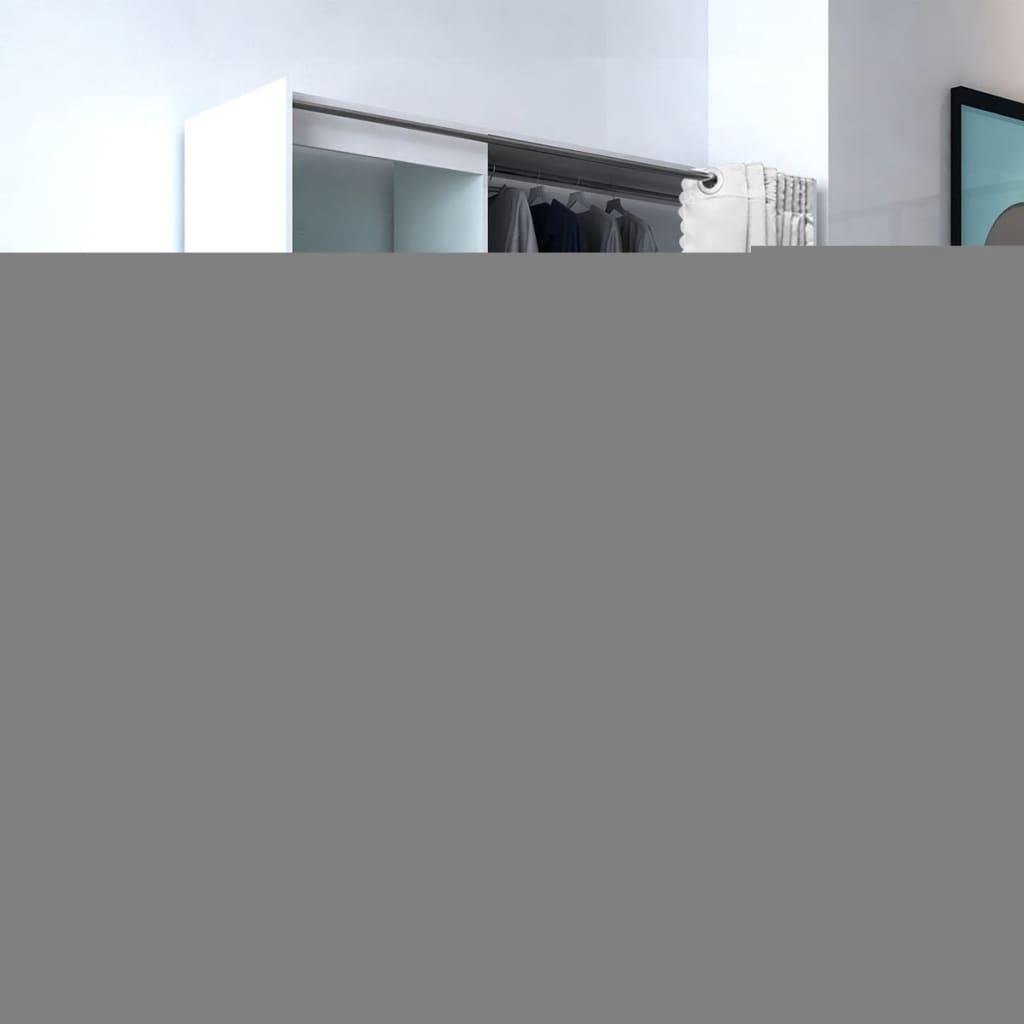99243052 Kleiderschrank mit Vorhang breitenverstellbar 121-168 cm Weiß