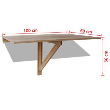 vidaXL væghængt klapbord egetræ 100 x 60 cm[6/6]
