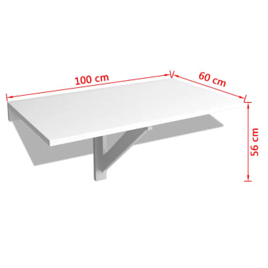 vidaXL Folding Wall Table White 100x60 cm[6/6]
