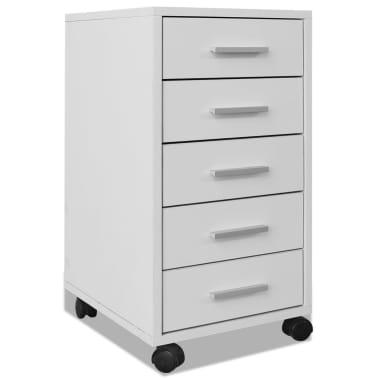 vidaXL kontorskuffemøbel med hjul 5 skuffer hvid[2/5]