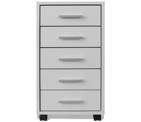 vidaXL kontorskuffemøbel med hjul 5 skuffer hvid[3/5]
