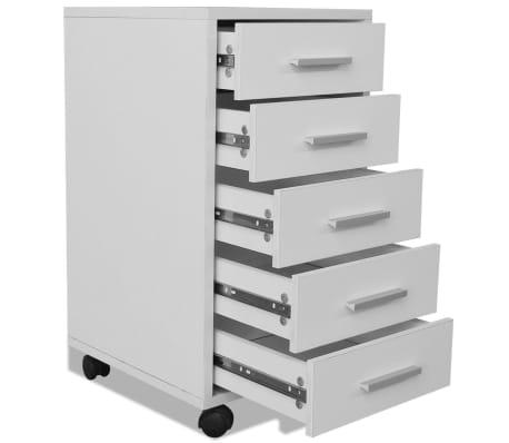 vidaXL kontorskuffemøbel med hjul 5 skuffer hvid[5/5]