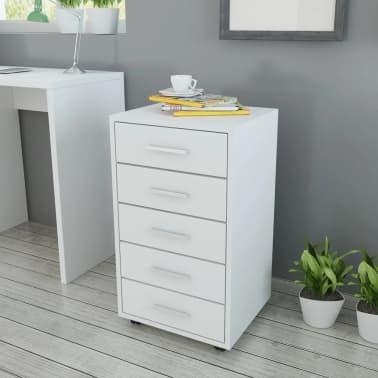 vidaXL kontorskuffemøbel med hjul 5 skuffer hvid[1/5]