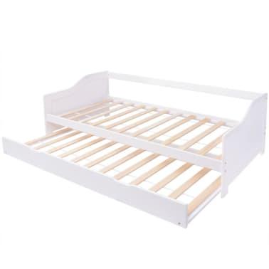 vidaXL fehér fenyőfa kihúzható kanapéágy keret 90 x 200 cm[2/6]