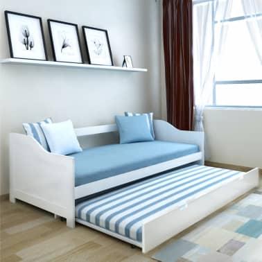 vidaXL fehér fenyőfa kihúzható kanapéágy keret 90 x 200 cm[1/6]