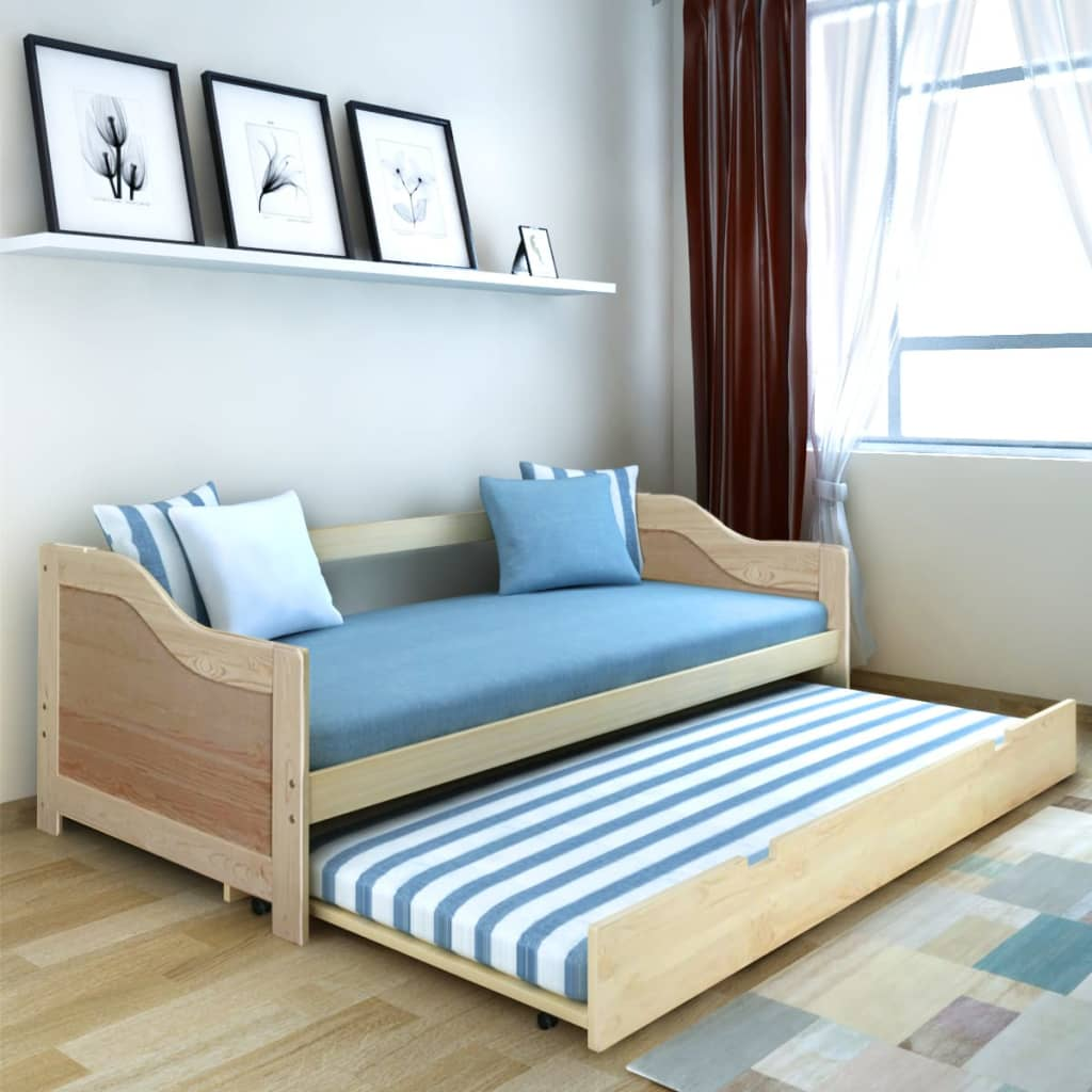 vidaXL Καναπές με Συρόμενο Κρεβάτι Φυσικό Χρώμα 200x90 εκ. Ξύλο Πεύκου
