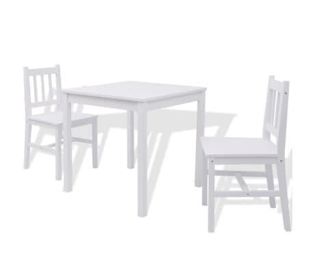 vidaXL Třídílný jídelní set z borového dřeva bílý