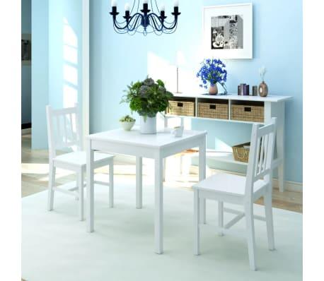 vidaxl dreiteiliges esstisch set pinienholz wei g nstig kaufen. Black Bedroom Furniture Sets. Home Design Ideas