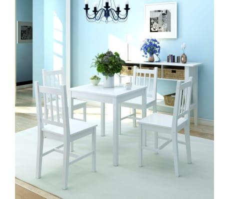 vidaxl f nfteiliges esstisch set pinienholz wei g nstig kaufen. Black Bedroom Furniture Sets. Home Design Ideas
