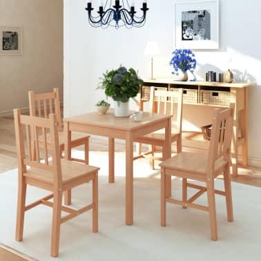 vidaxl f nfteiliges esstisch set pinienholz g nstig kaufen. Black Bedroom Furniture Sets. Home Design Ideas