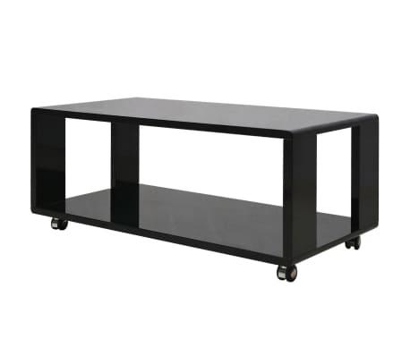 vidaXL Kavos staliukas, labai blizgus, juodas