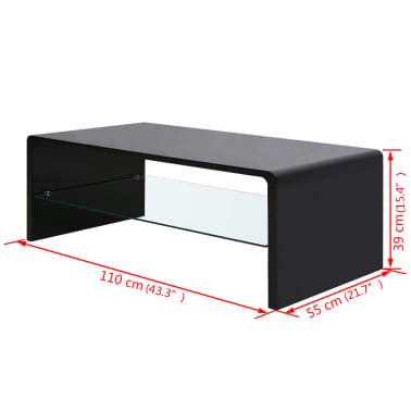 vidaXL High Gloss Coffee Table Black[4/4]