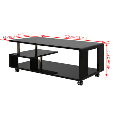 vidaXL Table basse brillante Noir[3/3]
