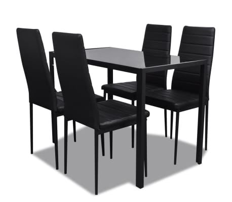 vidaXL Five Piece Dining Table Set Black-picture