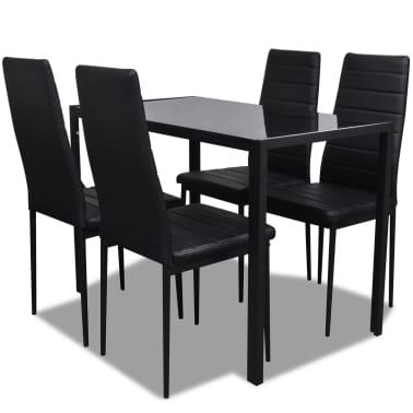 vidaXL Ensemble de table pour salle à manger cinq pièces noir[2/6]
