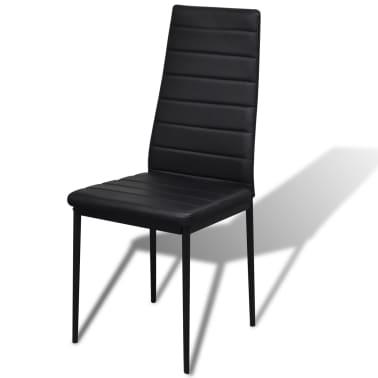 vidaXL Ensemble de table pour salle à manger cinq pièces noir[4/6]