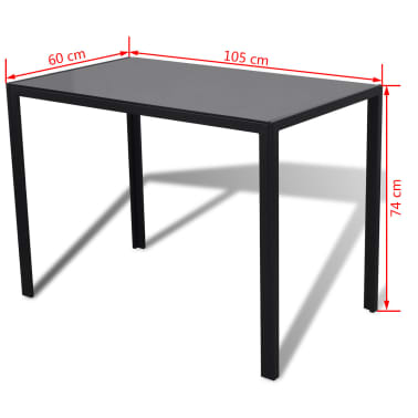 vidaXL Ensemble de table pour salle à manger cinq pièces noir[6/6]