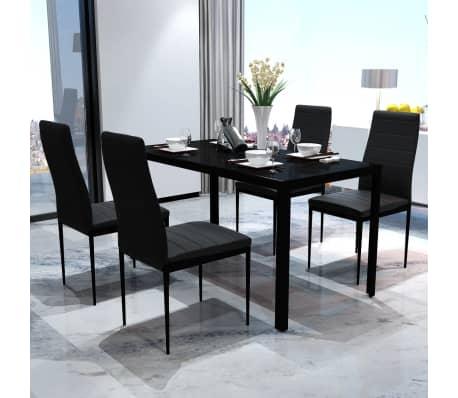 Details Sur Vidaxl Ensemble Table Et Chaises Pour Salle A Manger 5 Pcs Noir Noir Et Blanc