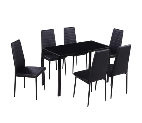 vidaXL Seven Piece Dining Table Set Black[2/7]