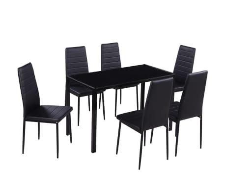 Details Sur Vidaxl Ensemble Table Et Chaises Pour Salle A Manger 7 Pcs Noir Noir Et Blanc