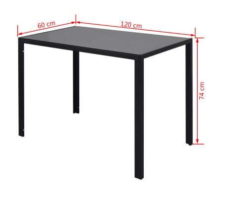 vidaXL Seven Piece Dining Table Set Black[7/7]