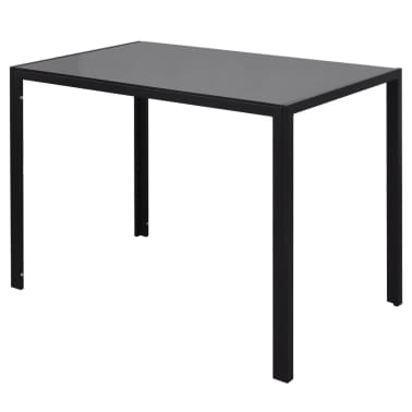 vidaXL Seven Piece Dining Table Set Black[3/7]