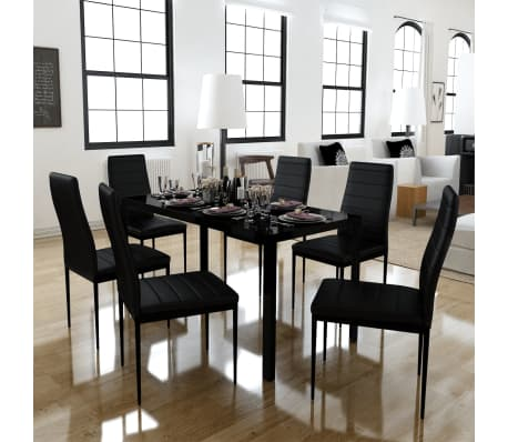 vidaXL Seven Piece Dining Table Set Black[1/7]