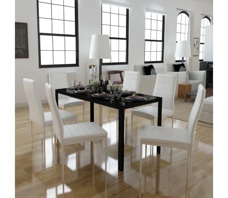 vidaxl 7tlg esstisch set schwarz und wei g nstig kaufen. Black Bedroom Furniture Sets. Home Design Ideas