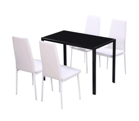 vidaXL 5 dalių valgomojo stalo ir kėdžių komplektas, baltas/juodas