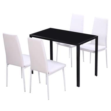 vidaXL 5 dalių valgomojo stalo ir kėdžių komplektas, baltas/juodas[2/8]