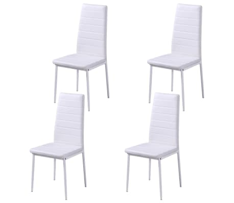 vidaXL 5 dalių valgomojo stalo ir kėdžių komplektas, baltas/juodas[5/8]