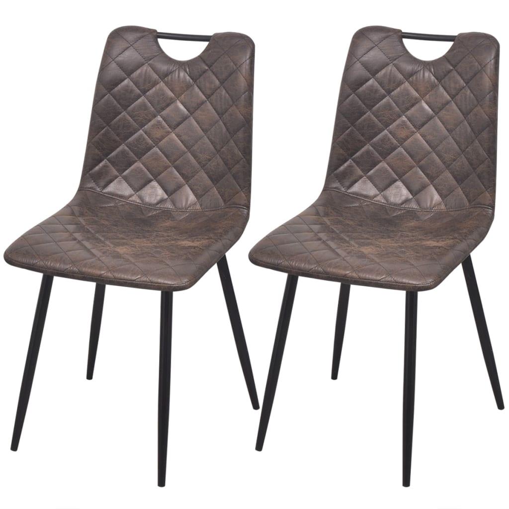 vidaXL Καρέκλες Τραπεζαρίας 2 τεμ. Σκούρο Καφέ από Συνθετικό Δέρμα