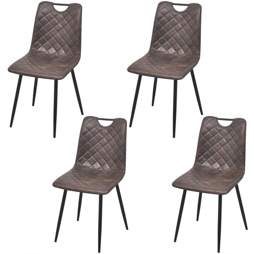 vidaXL Καρέκλες Τραπεζαρίας 4 τεμ. Σκούρο Καφέ από Συνθετικό Δέρμα