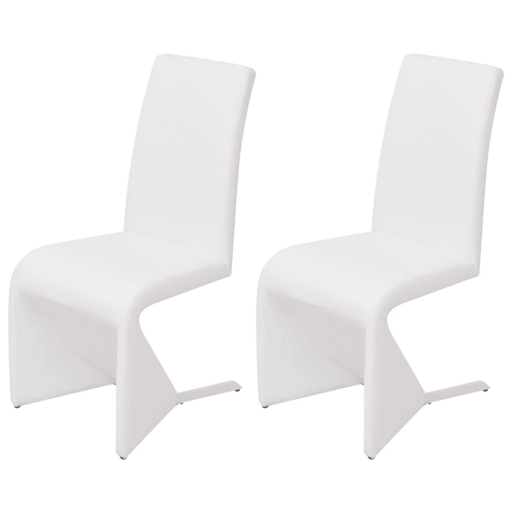 Afbeelding van vidaXL Cantilever eetkamerstoelen 2 stuks kunstleer wit