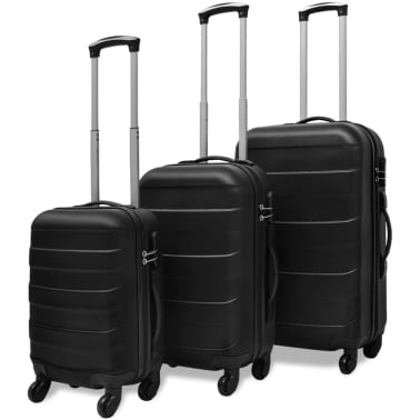 vidaXL 3 Piece Hardcase Trolley Set Black[1/5]