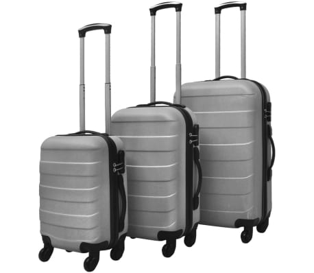 vidaXL Set Trolley Rigidi 3 pz Argento[1/5]