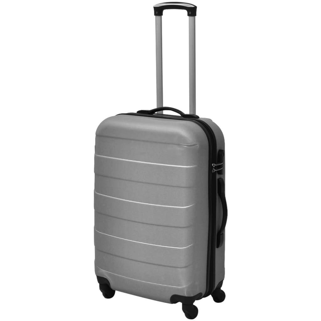 Kolmeosaline kõvakattega kohvrite komplekt hõbedane